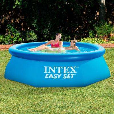 8 ft. x 30 in. Easy Set Inflatable Above Ground Polygonal Pool with Filter Pump