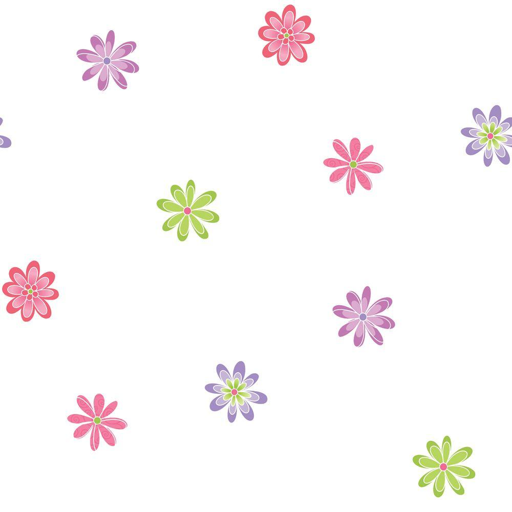 The Wallpaper Company 8 in. x 10 in. Brightly Colored Contemporary Floral Wallpaper Sample