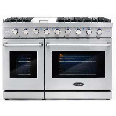 48 in. 6.8 cu. ft. Double Oven Commercial Gas Range with Fan Assist Convection Oven in Stainless Steel Storage Drawer