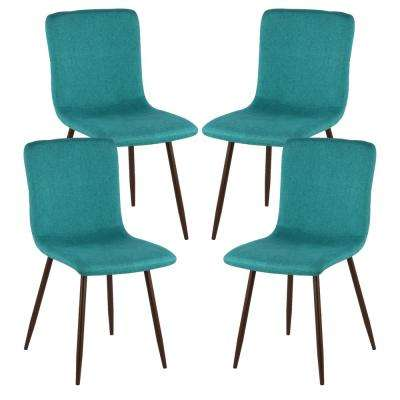 Wadsworth Dining Chair with Walnut Legs in Green (Set of 4)