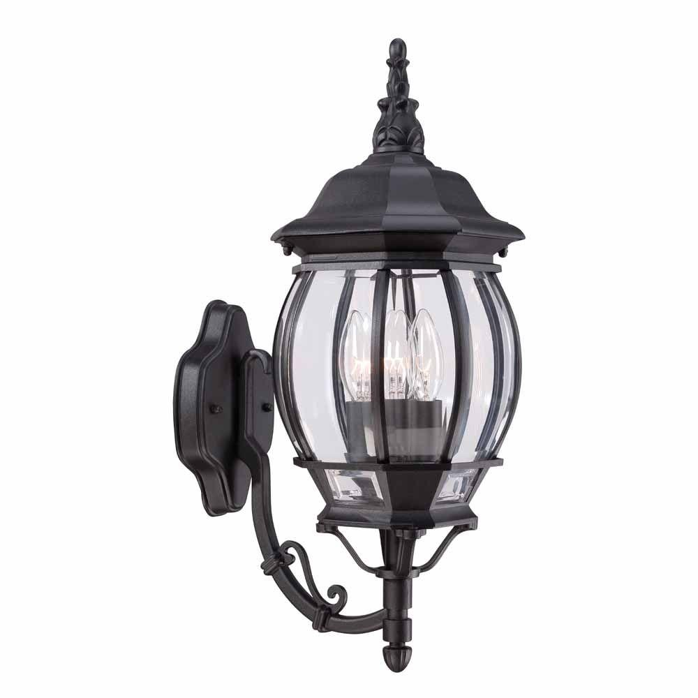 Hampton Bay 3-Light Black Outdoor Wall Mount Lantern-HB7028-05 ...