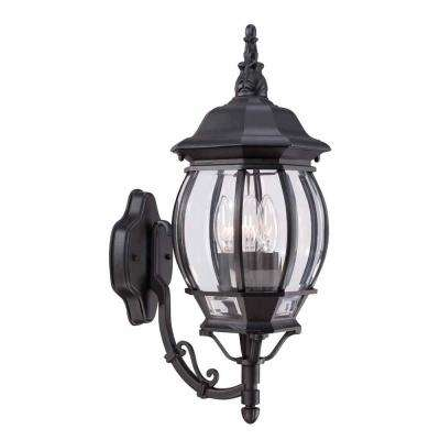 3 light black outdoor wall mount lantern