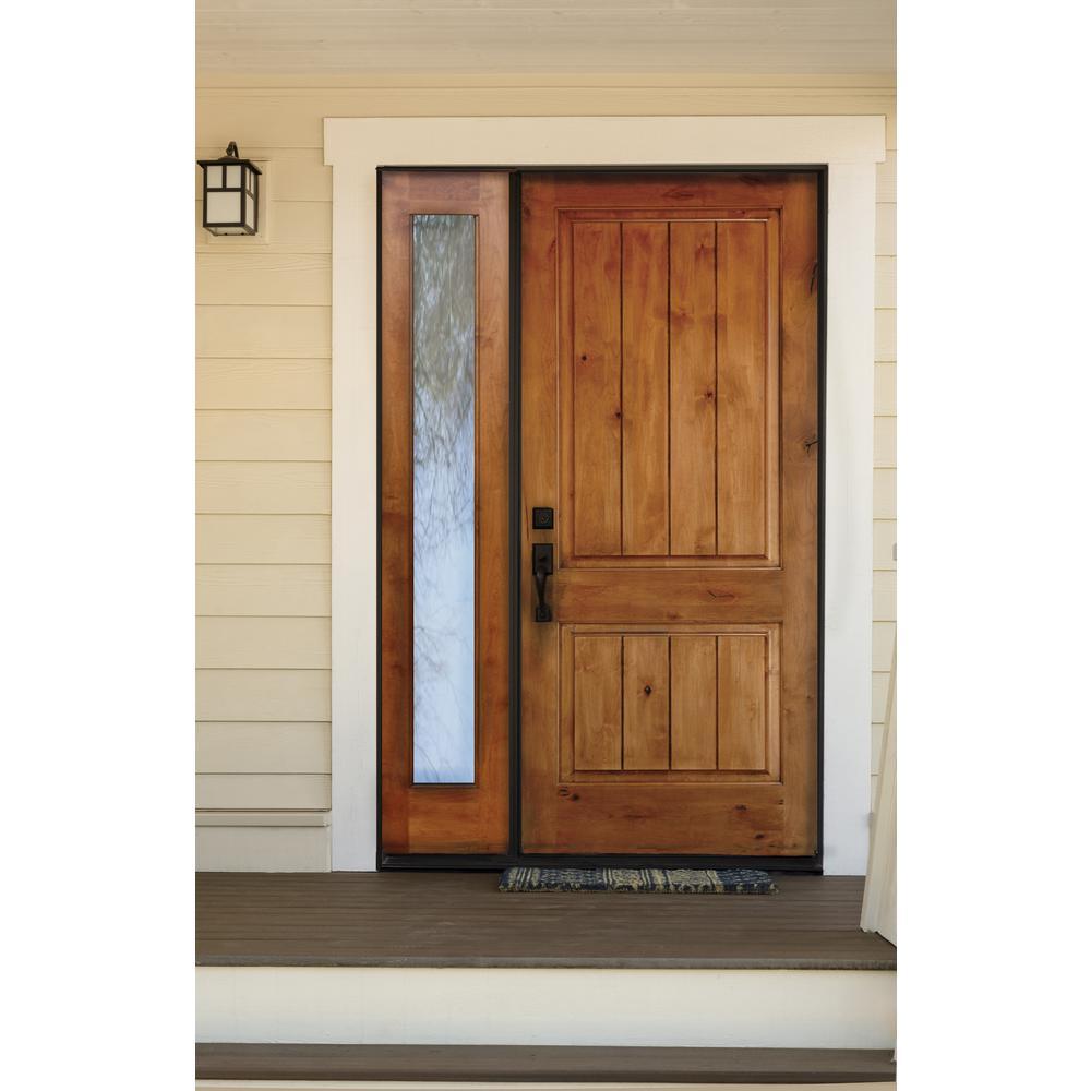 Krosswood Doors 46 In X 96 In Rustic Unfinished Knotty Alder Sq Top Vg Left Hand Left Full Sidelite Clear Glass Prehung Front Door Phed Ka 300v 28 80 134 Lh Lfsl The Home Depot