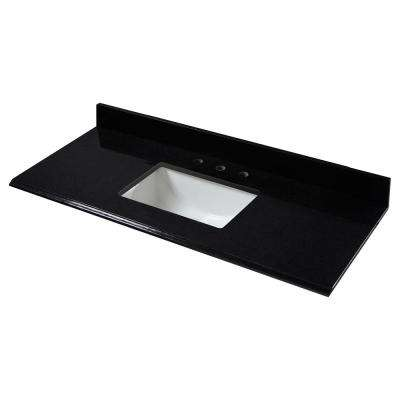 49 in. W x 22 in. D Granite Single Trough Sink Vanity Top in Midnight Black