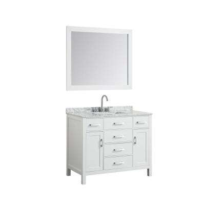 Hampton 43 in. Bath Vanity in White with Marble Vanity Top in Carrara White with White Basin and Mirror