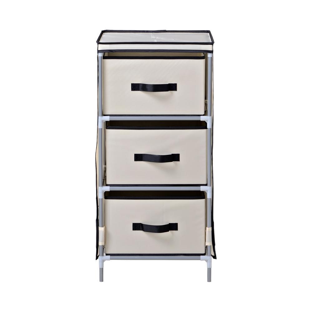15 in. W x 31 in. H x 15 in. D Beige with Black Fabric 3-Drawer Dresser