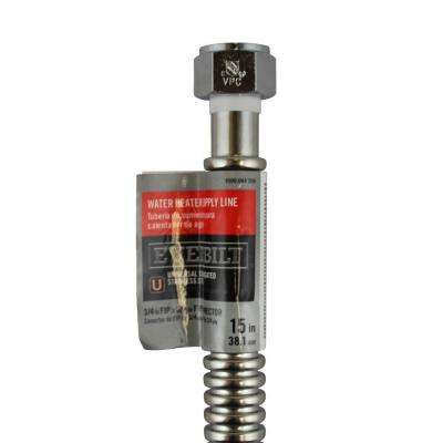 3/4 in. FIP x 3/4 in. FIP x 15 in. Stainless Steel Corrugated Water Connector