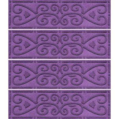 Purple 8.5 in. x 30 in. Scroll Stair Tread Cover (Set of 4)