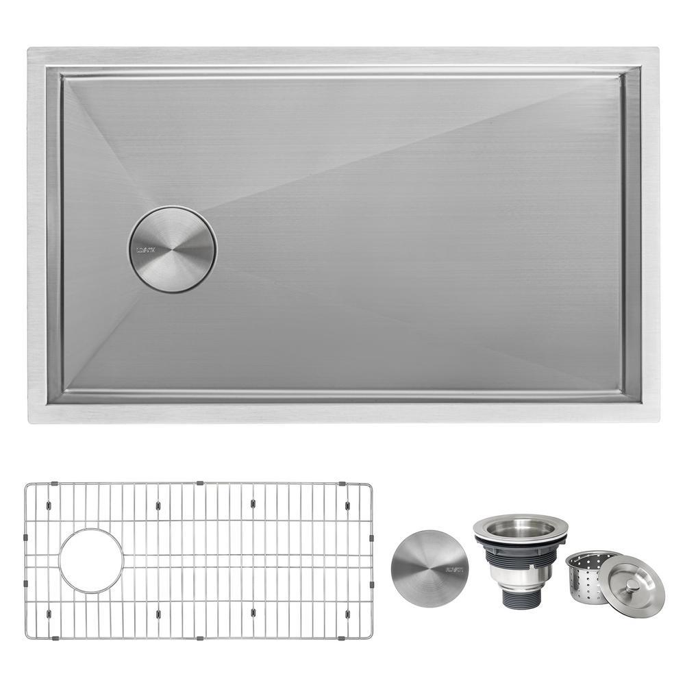 Stainless Steel 32 in. Single Bowl Undermount 16-Gauge Offset Drain Kitchen Sink