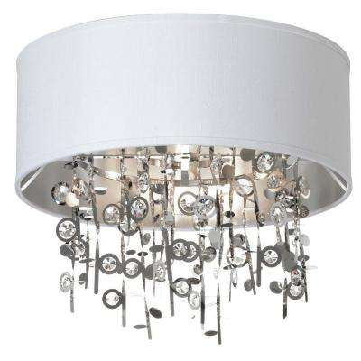 Picabo 4-Light Polished Chrome Crystal Semi-Flush Mount with White Shade