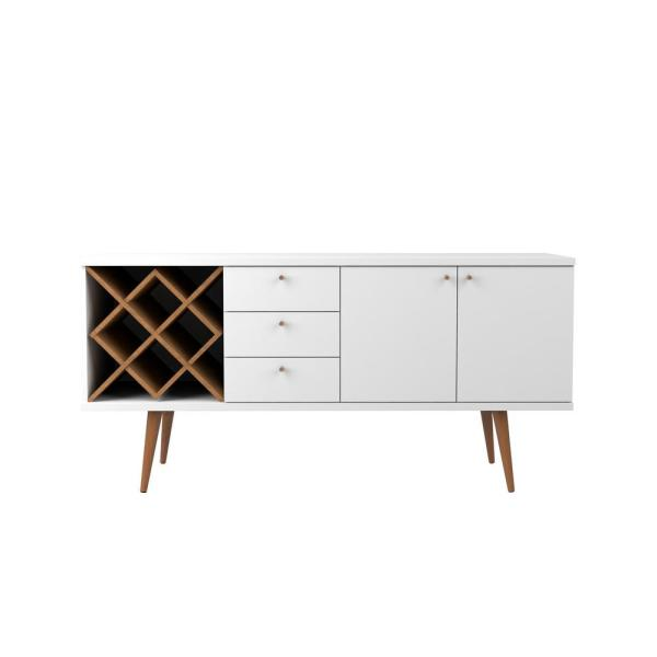 Manhattan Comfort Utopia 4-Bottle White Gloss and Maple Cream Wine Rack Sideboard Buffet Stand with 3-Drawers and 2-Shelves