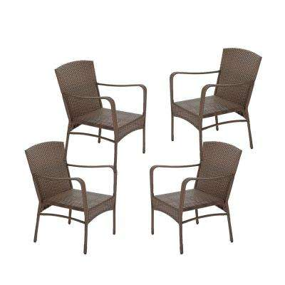 Leisure Brown Wicker Outdoor Lounge Chair (4-Pack)