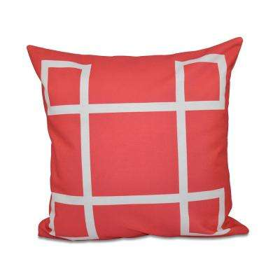 16 in. x 16 in. Criss Cross Geometric Print Pillow in Coral