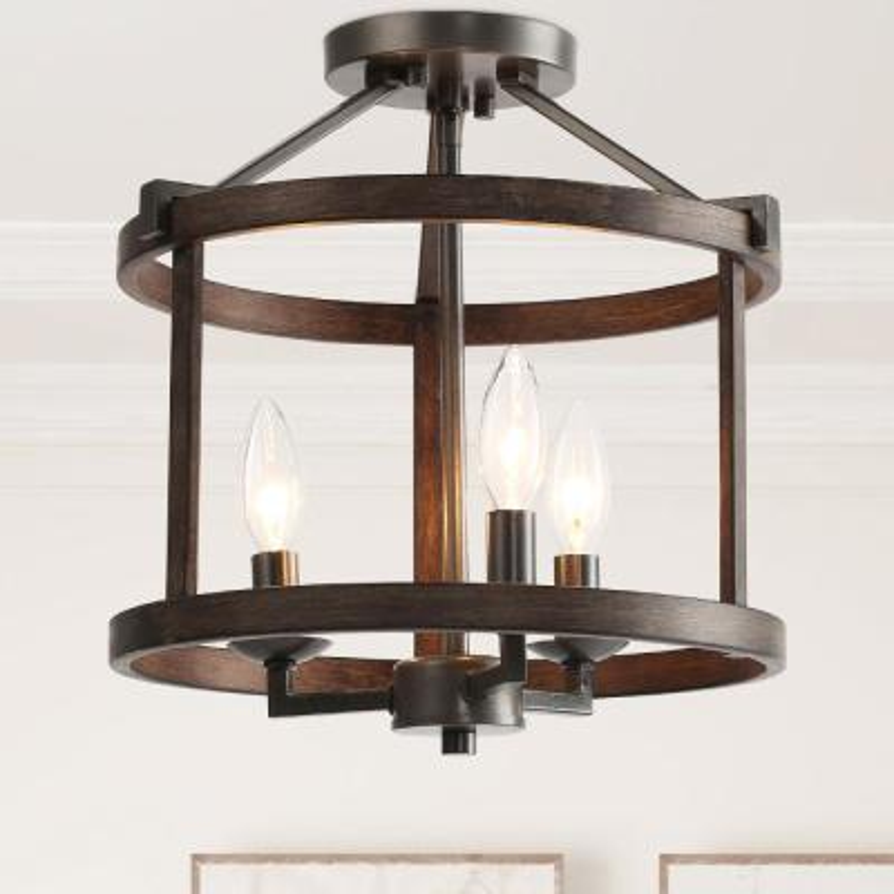3-Light Semi Flush Mount Black Open Cage Rustic Farmhouse Drum Shape with Aged Oak Accents LED Compatible