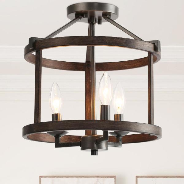 3-Light Semi Flush Mount Black Open Cage Rustic Farmhouse Drum Shape with Aged Oak Accents LED Compatible