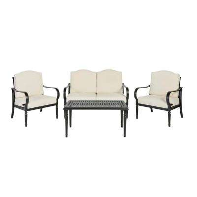 Laurel Oaks 4-Piece Brown Steel Outdoor Patio Conversation Seating Set with Bare Cushions