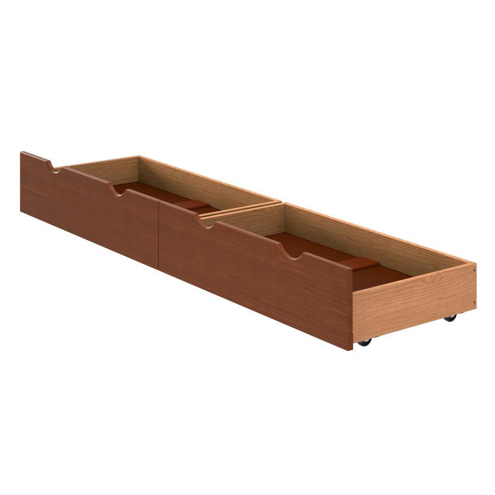 Alaterre 37 in. W x 9.375 in. H Chestnut Under Bed Storage Drawer (Set of 2)