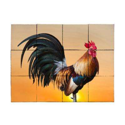 Sunset Rooster 24 in. x 18 in. Tumbled Marble Tiles (3 sq. ft. /case)