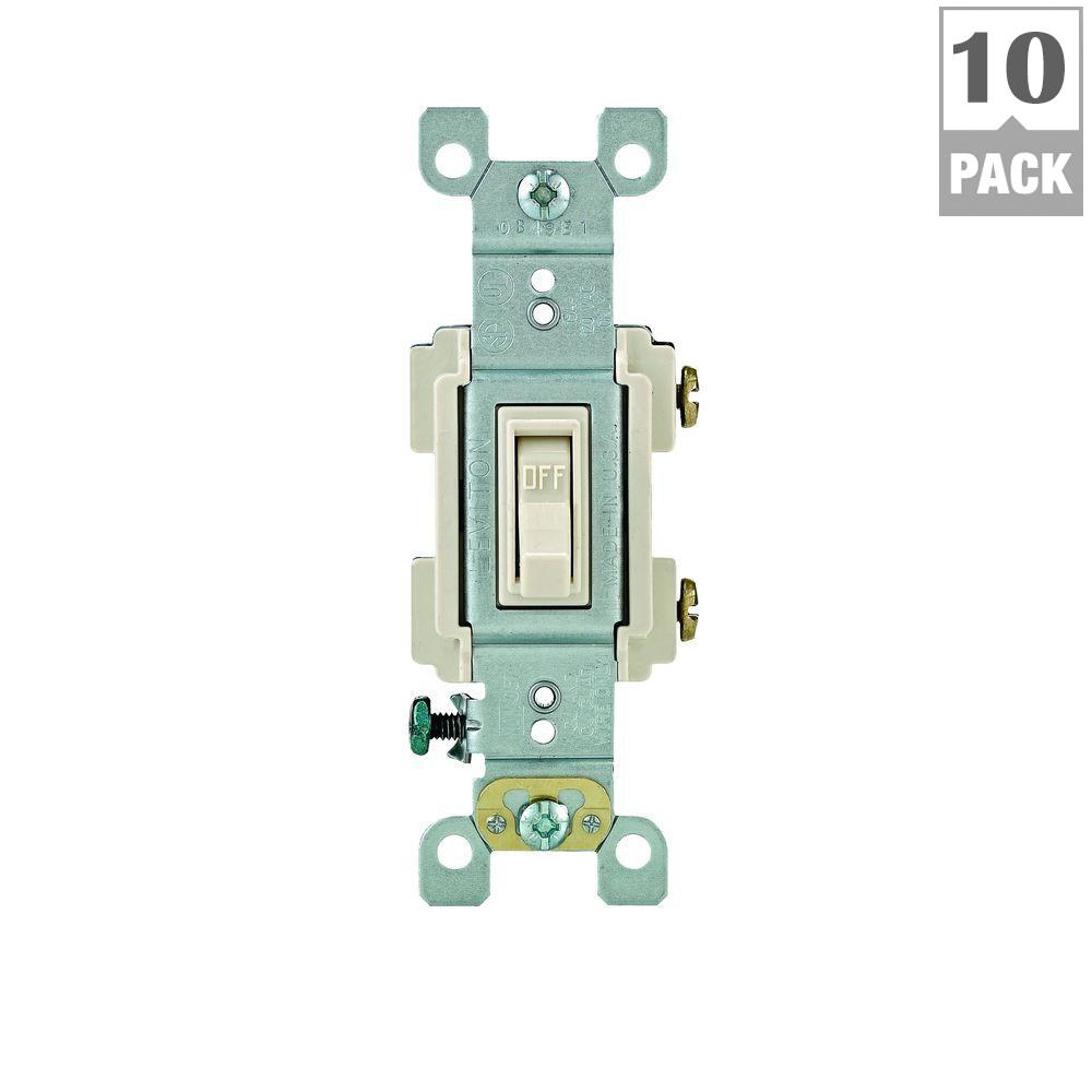 Leviton 15 Amp Preferred Switch, Light Almond (10-Pack)-M56-RS115 ...