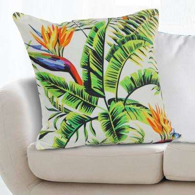 Birds of Paradise Flower 18 in. x 18 in. Green Multi Indoor Throw Pillow