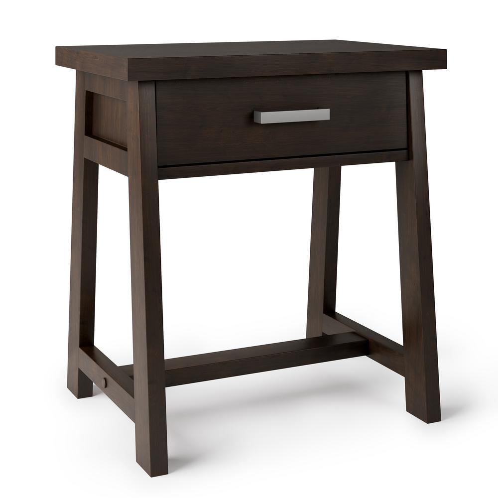 Spokane 1-Drawer Dark Chestnut Brown Bedside Table (26 in. H x 24 in. W x 19 in. D)