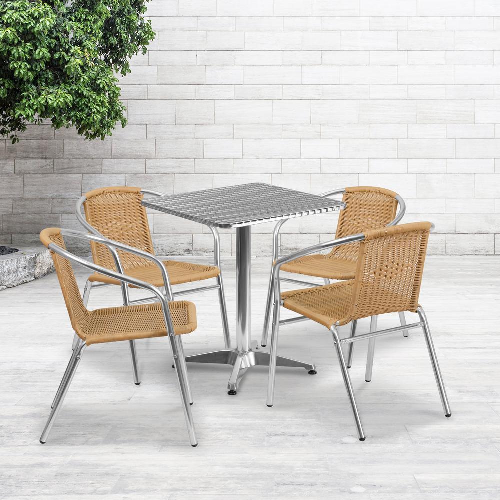Gray 5-Piece Metal Square Outdoor Bistro Set