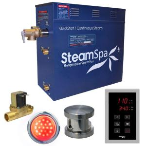 SteamSpa Indulgence 7.5kW QuickStart Steam Bath Generator Package with Built-In Auto Drain in Polished Brushed Nickel by SteamSpa