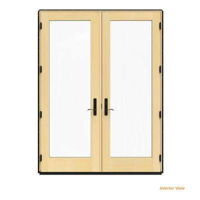 72 in. x 96 in. W-4500 Black Clad Wood Left-Hand Full Lite French Patio Door w/Lacquered Interior