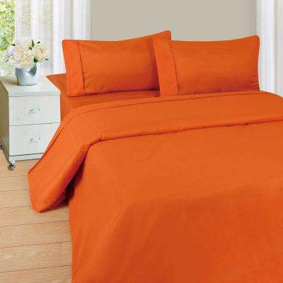 1200 Series 4-Piece Rust 75 GSM Queen Microfiber Sheet Set