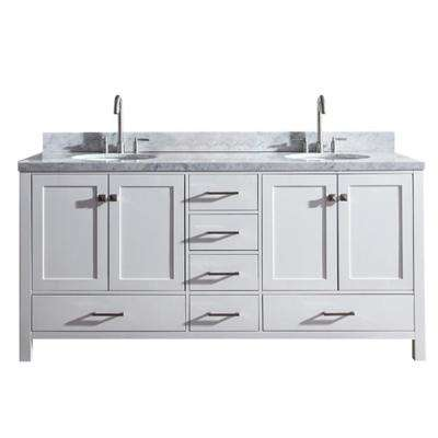 Cambridge 73 in. Bath Vanity in White with Marble Vanity Top in Carrara White with White Basins