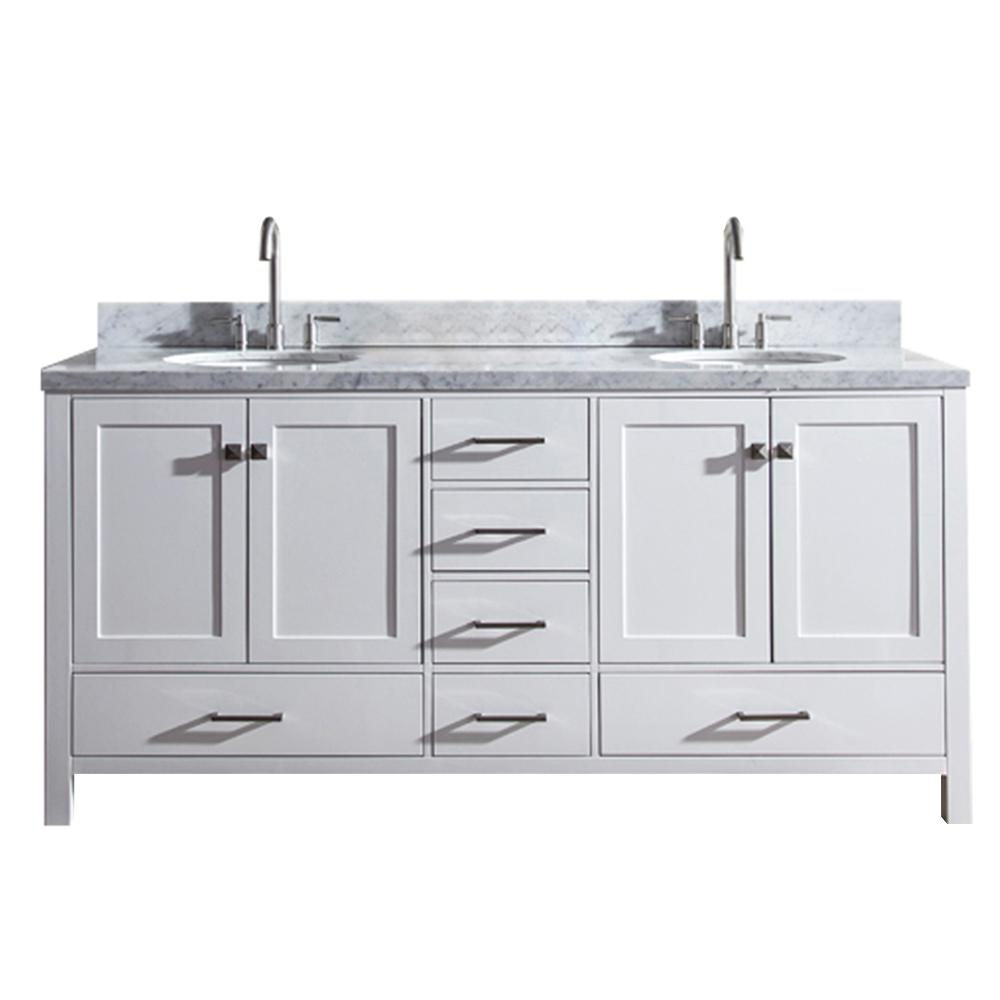 Ariel Cambridge 73 In Bath Vanity White With Marble Top Carrara