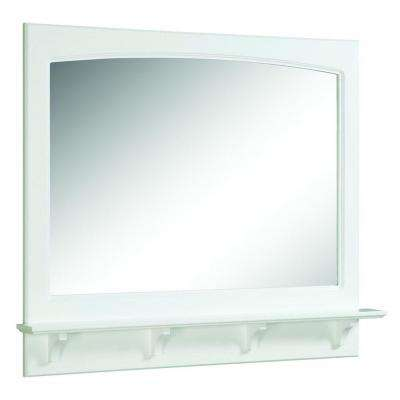 Concord 31 in. L x 36 in. W Framed Wall Mirror with Shelf in White Gloss