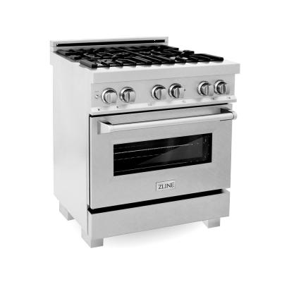 ZLINE 30 in. Professional Dual Fuel Range in DuraSnow® Stainless with DuraSnow® Stainless Door (RAS-SN-30)