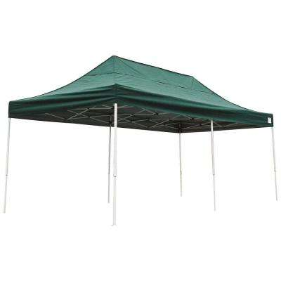 Pro Series 10 ft. x 20 ft. Green Straight Leg Pop-Up Canopy