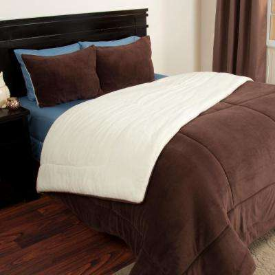 Chocolate Sherpa-Fleece Twin 2-Piece Comforter Set