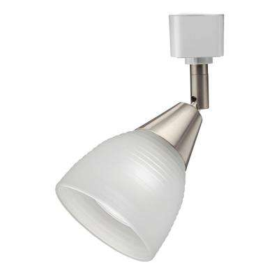 Frosted Ribbed 1-Light Brushed Nickel Track Lighting