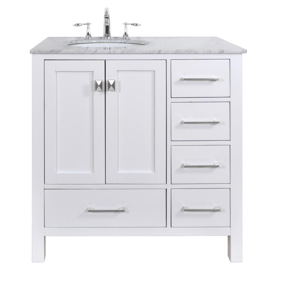 Malibu 36 in. Vanity in Pure White with Marble Vanity Top