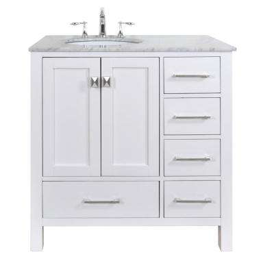 malibu 36 in vanity in pure white with marble vanity top in carrara white
