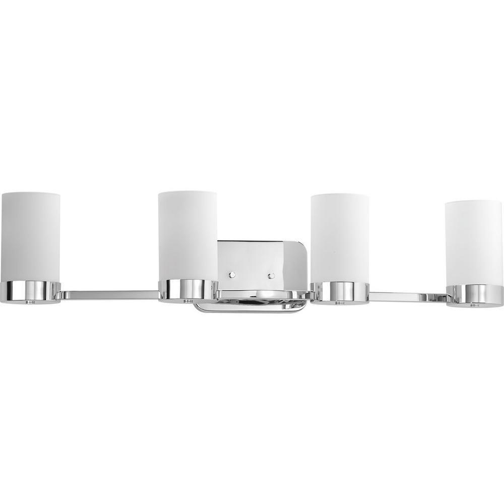 Progress Lighting Elevate Collection 4-Light Polished Chrome Bathroom Vanity Light with Glass Shades
