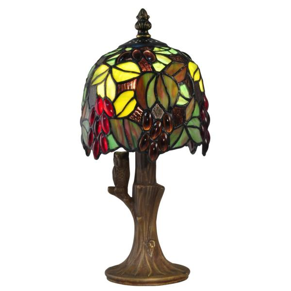 12.25 in. Antique Brass Accent Lamp with Hand Rolled Art Glass