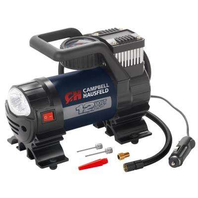 Mighty 150 PSI Lightweight 12-Volt Portable Inflator with Safety Light and Inflation Accessories
