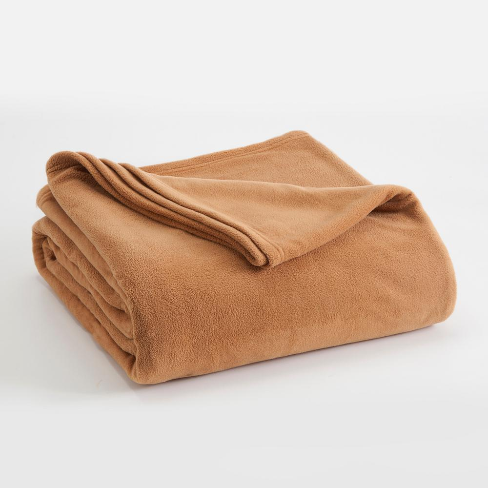 Microfleece Tobacco Brown Polyester King Blanket
