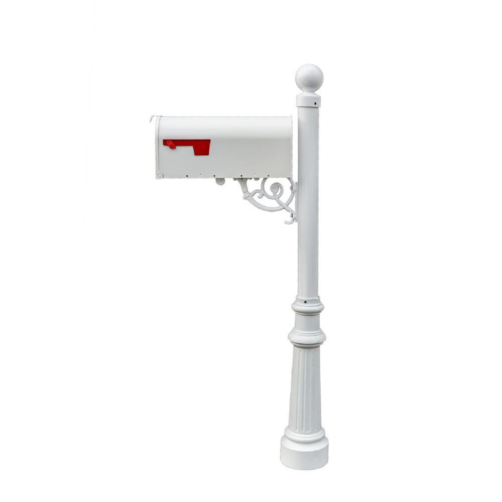 Lewiston White Decorative Post Mounted Mailbox System With Non Locking E1 Economy Mailbox Lpst 804 E1 Wht The Home Depot