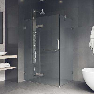 Monteray 38.25 in. x 73.375 in. Frameless Corner Hinged Shower Enclosure in Brushed Nickel with Clear Glass