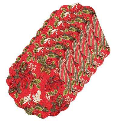 Poinsettia and Pine Round Red Placemat (Set of 6)