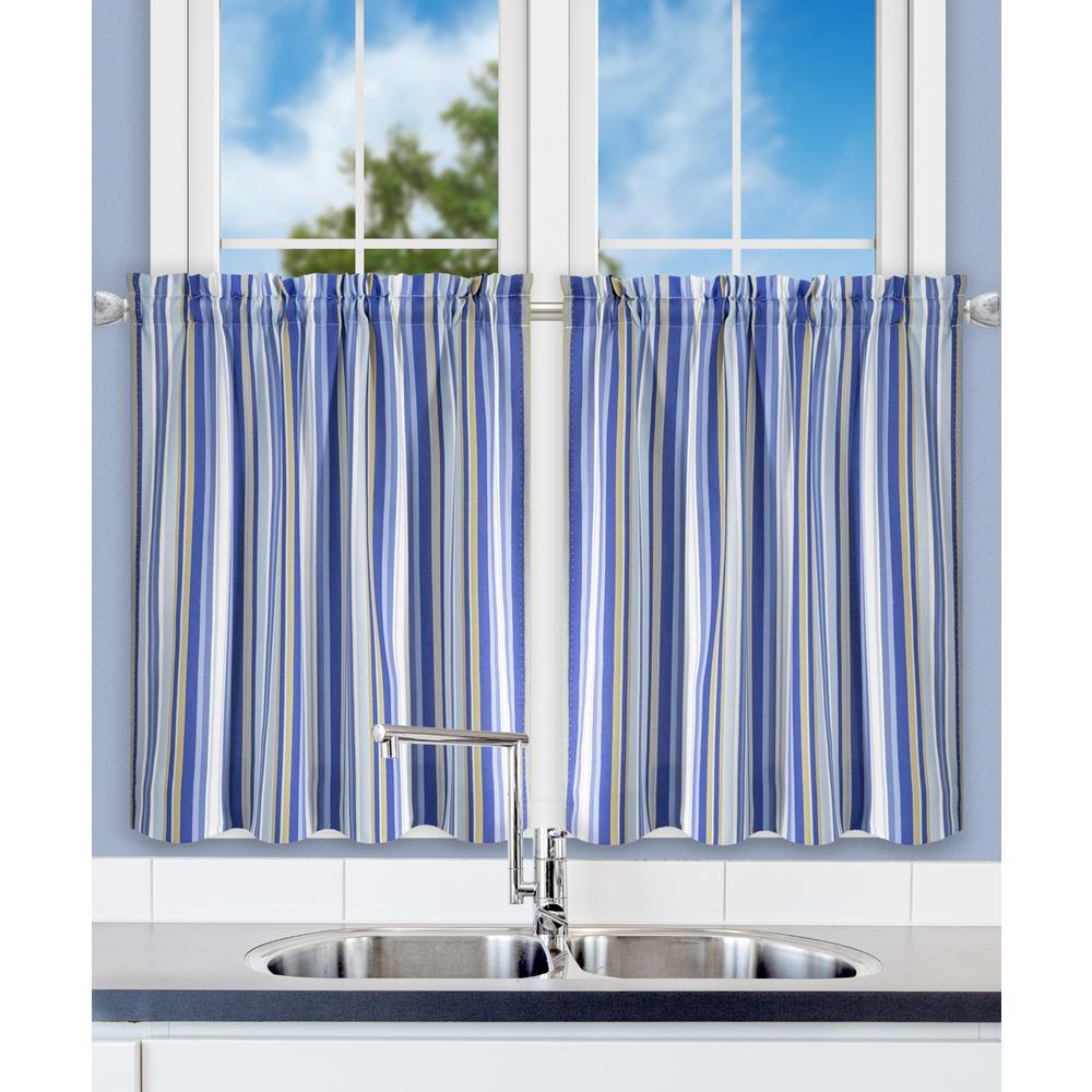 Mason 56 in. W x 36 in. L Stripe Poly/Cotton Tailored Tiers in Blue