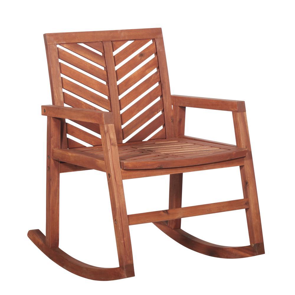 Walker Edison Furniture Company Brown Chevron Outdoor Acacia Wood Rocking Chair