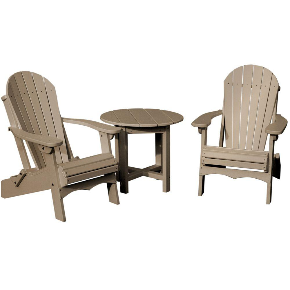 Vifah Roch Recycled Plastics 3-Piece Patio Conversation Set in Weathered Wood-DISCONTINUED