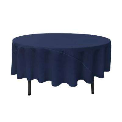 90 in. Navy Blue Polyester Poplin Round Tablecloth