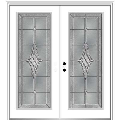 72 in. x 80 in. Grace Right-Hand Inswing Full-Lite Decorative Glass Primed Steel Prehung Front Door on 4-9/16 in. Frame